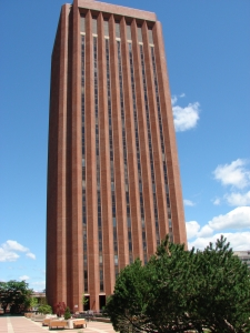 The library tower at the Univeristy of Massachussetts at Amherst. The UMass Archives are situated at the last floor.
